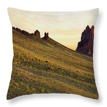 A Shiprock Sunrise - New Mexico - Landscape Throw Pillow by Jason Politte