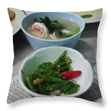 Throw Pillow featuring the photograph A Side Of Tom Yum Goon With Your by Mr Photojimsf