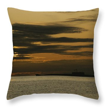 A Silhouetted Russian Submarine Throw Pillow by James P. Blair