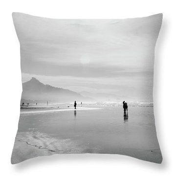 A Silver Day On The Beach Throw Pillow by Dan Dooley