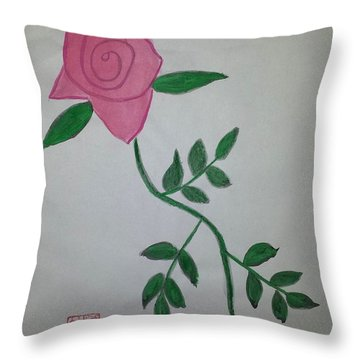 A Single Red Rose Throw Pillow