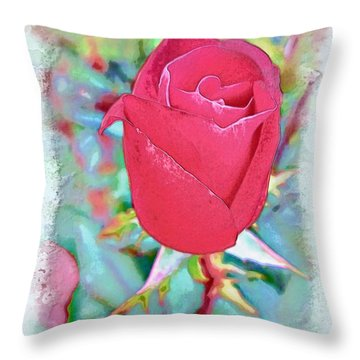 Throw Pillow featuring the photograph A Single Rose In October by Joan  Minchak