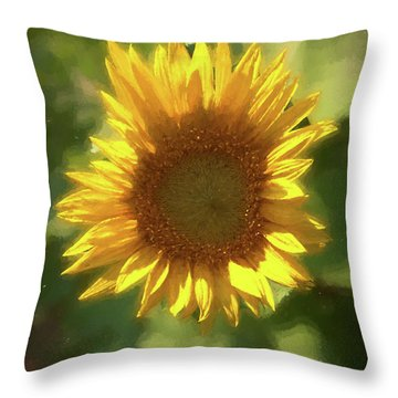 A Single Sunflower Showing It's Beautiful Yellow Color Throw Pillow