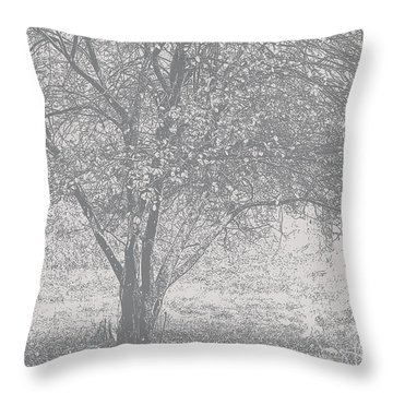 A Single Tree In Autumn In Grey And White Throw Pillow