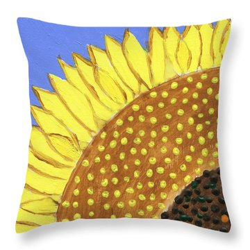 Throw Pillow featuring the painting A Slice Of Sunflower by Deborah Boyd