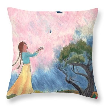 A Small Bird Haiku And Illustration Throw Pillow