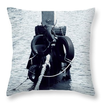 A Small Boat Mooring Point. Throw Pillow