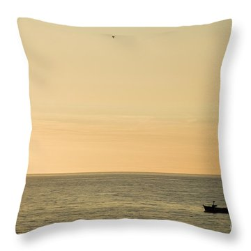 A Small Fishing Boat In Sunset Over Cardigan Bay Aberystwyth Ceredigion West Wales Throw Pillow