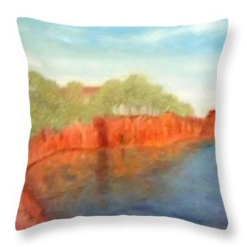 A Small Inlet Bay With Red Orange Rocks Throw Pillow