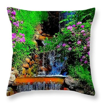 A Small Waterfall In Hbg Sweden Throw Pillow