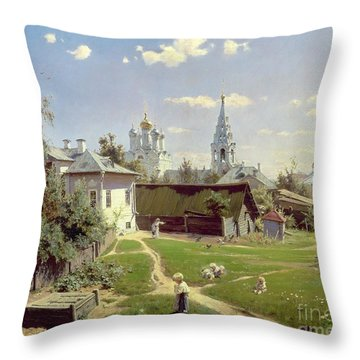 A Small Yard In Moscow Throw Pillow by Vasilij Dmitrievich Polenov