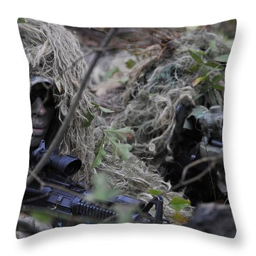 A Sniper Team Spotter And Shooter Throw Pillow by Stocktrek Images