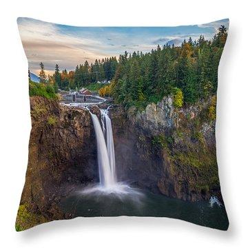 A Snoqualmie Falls  Autumn Throw Pillow