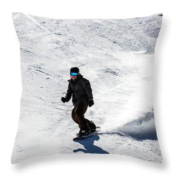 A Snowboarder Descends Aspen Mountain Throw Pillow