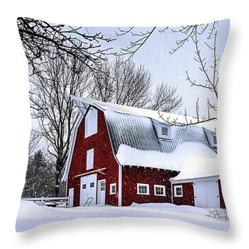 A Snowy Day At Grey Ledge Farm Throw Pillow by Betty Denise