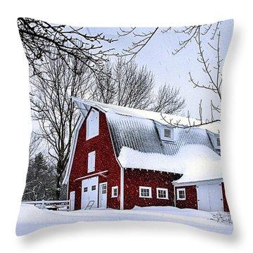 A Snowy Day At Grey Ledge Farm Throw Pillow