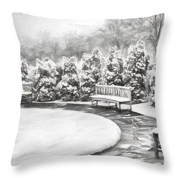 A Snowy Day In The Park Bw Throw Pillow