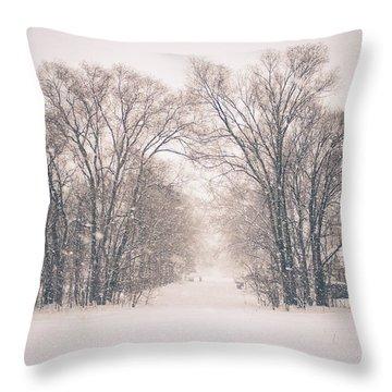 A Snowy Monday Throw Pillow