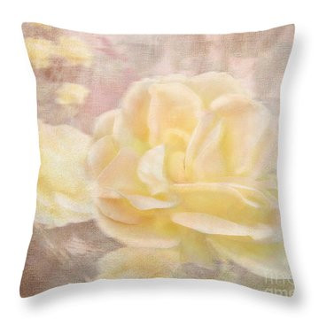 A Softer Rose Throw Pillow by Victoria Harrington