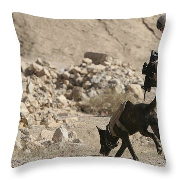 A Soldier And His Dog Search An Area Throw Pillow by Stocktrek Images