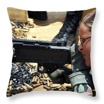 A Soldier Fires An M240b Medium Machine Throw Pillow by Stocktrek Images