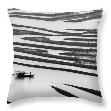 A Solitary Boatman. Throw Pillow