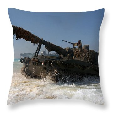 A Spanish Army M109a5 155mm Throw Pillow by Stocktrek Images