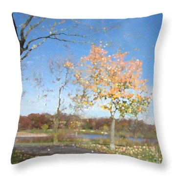 A Sparkly Fall Day Throw Pillow