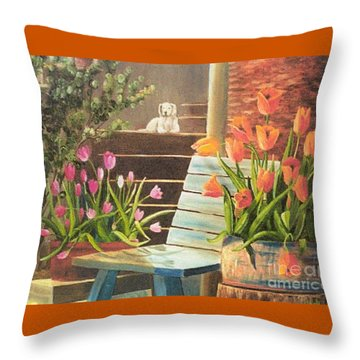 Throw Pillow featuring the painting A Special Place by Renate Nadi Wesley