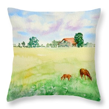 A Spring Graze Throw Pillow by Sharon Mick