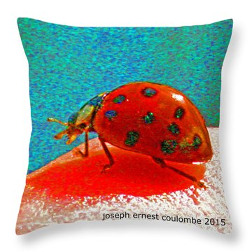 A Spring Lady Bug Throw Pillow