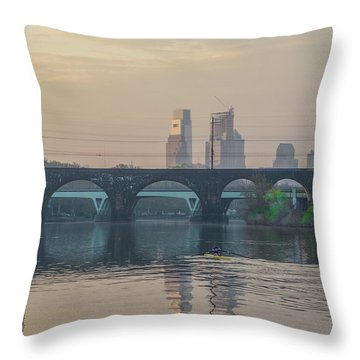 Throw Pillow featuring the photograph A Spring Morning Rowing On The Schuylkill River by Bill Cannon