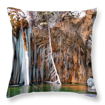 A Spring That Knows No Summer. - Hanging Lake Print Throw Pillow