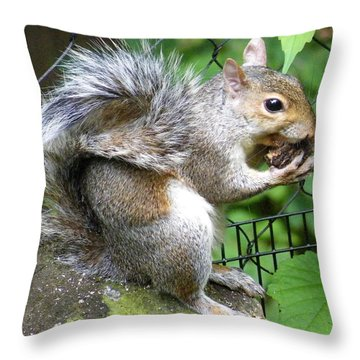 A Squirrelly Portrait Throw Pillow
