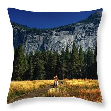 A Starry Full Moon Night Throw Pillow
