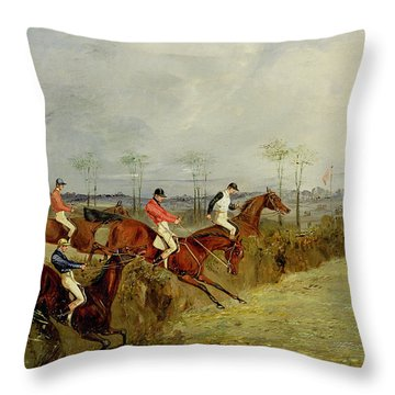 A Steeplechase - Taking A Hedge And Ditch  Throw Pillow by Henry Thomas Alken
