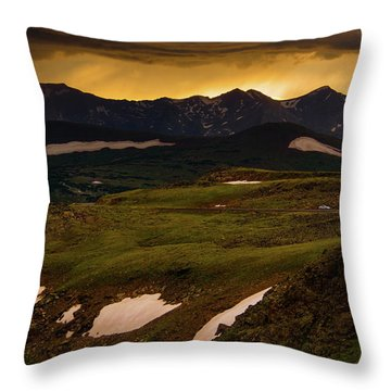 Throw Pillow featuring the photograph A Stormy Alpine Sunset by John De Bord