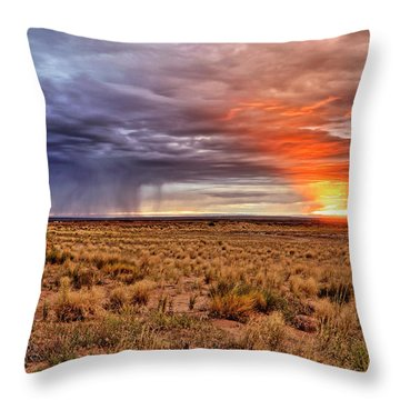 A Stormy New Mexico Sunset - Storm - Landscape Throw Pillow by Jason Politte