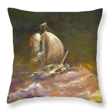 Throw Pillow featuring the painting A Stormy Night At Sea by Dan Whittemore