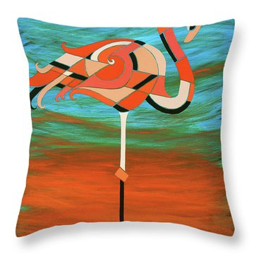 A Straight Up Flamingo Throw Pillow