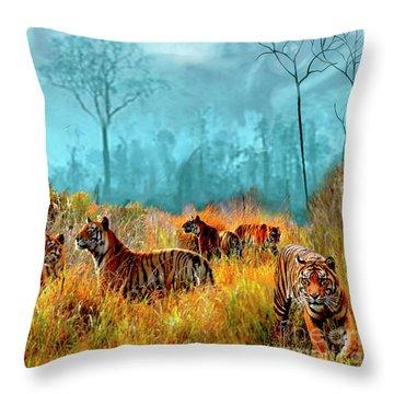 A Streak Of Tigers Throw Pillow