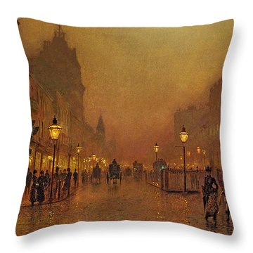 A Street At Night Throw Pillow by John Atkinson Grimshaw