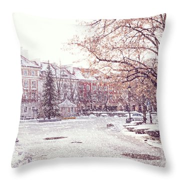Throw Pillow featuring the photograph A Street In Warsaw, Poland On A Snowy Day by Juli Scalzi