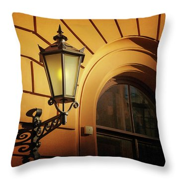 Throw Pillow featuring the photograph A Street Lamp In Lisbon Portugal  by Carol Japp