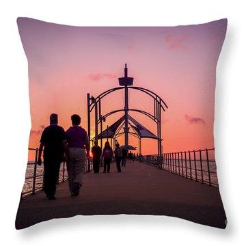 A Stroll Along Sunset Pier Throw Pillow