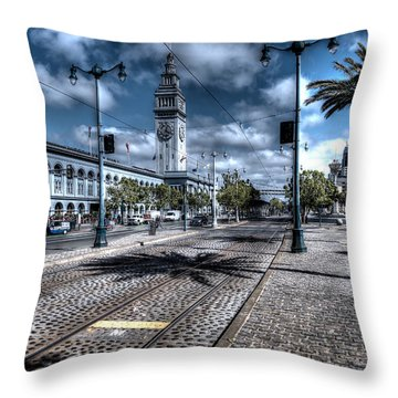 A Stroll Along The Embarcedero Throw Pillow