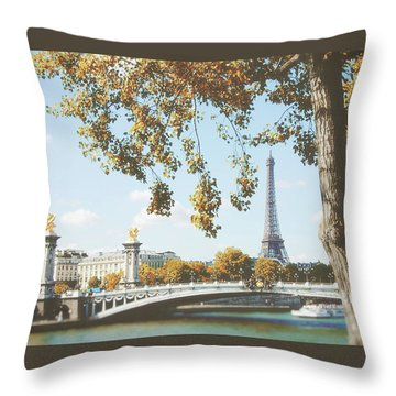 Throw Pillow featuring the photograph A Stroll Along The River Seine In Paris by Ivy Ho
