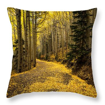 A Stroll Among The Golden Aspens  Throw Pillow