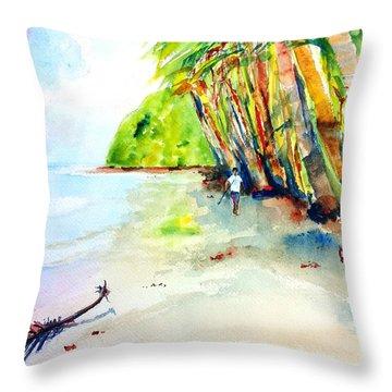 A Stroll On Batibou Beach Dominica Throw Pillow by Carlin Blahnik