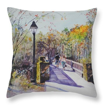 A Stroll On The Bridge Throw Pillow